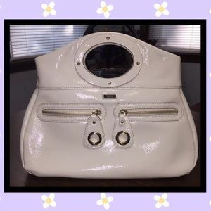 Kate Spade Patent Ivory White Shoulder Beg Purse